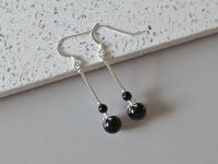 Black Onyx & Sterling Silver Long Drop Earrings
